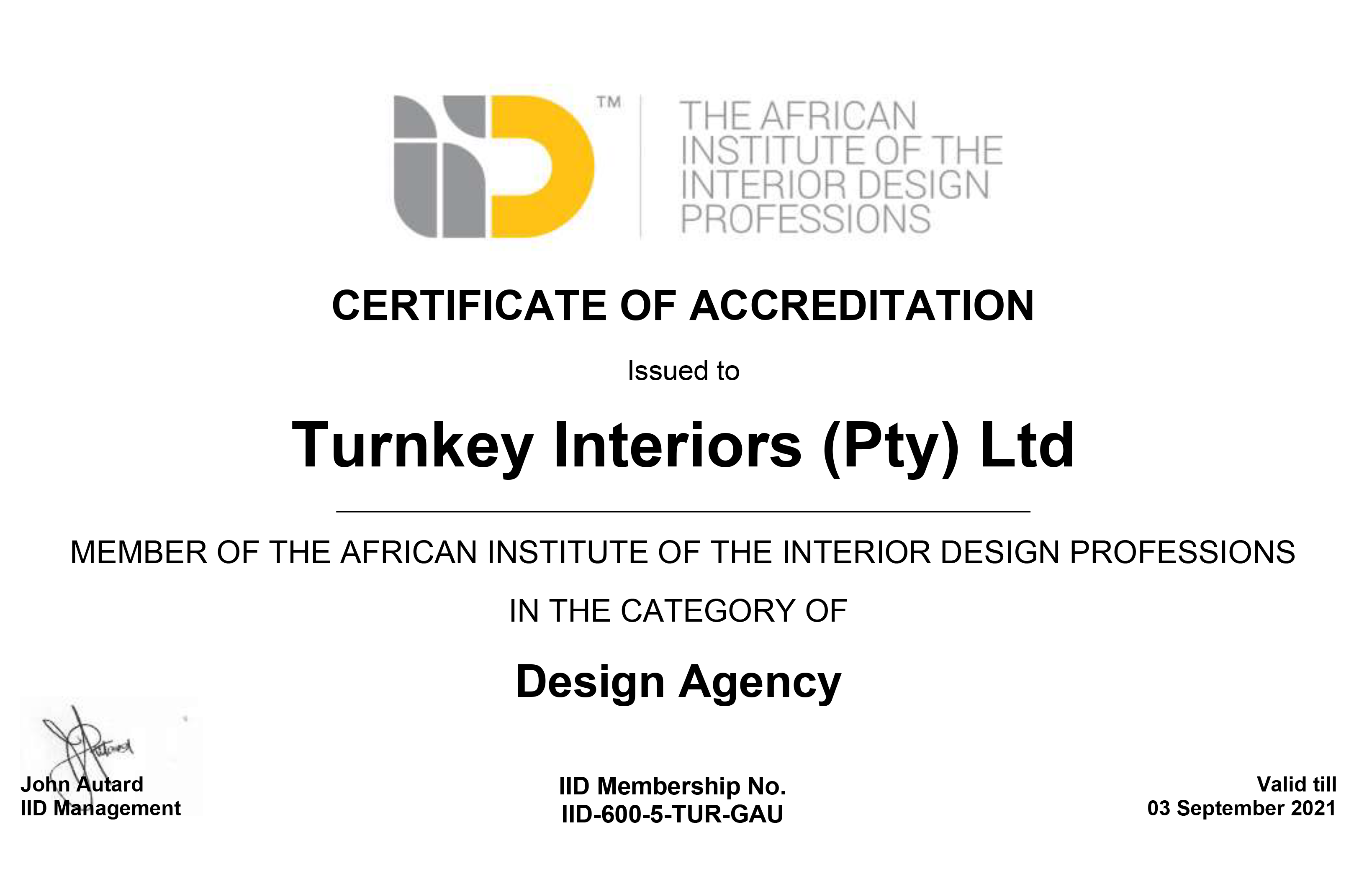 turnkey interiors iid certification